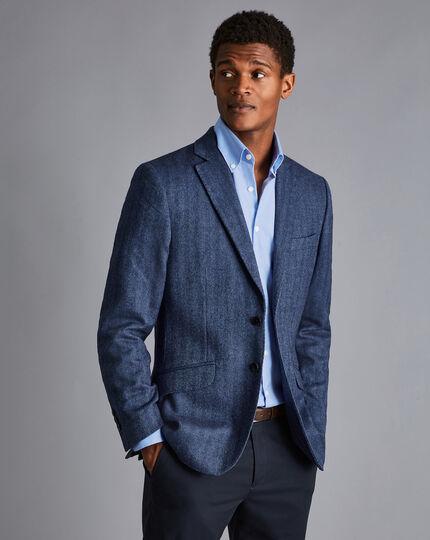 Eco Blend Herringbone Jacket - Blue