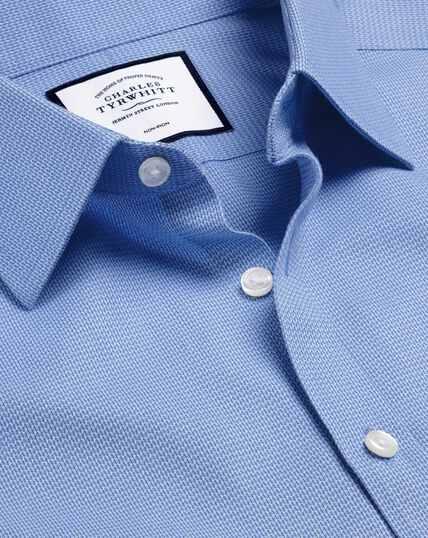 Non-Iron Mini Herringbone Shirt - Blue