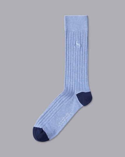Cotton Rib Socks - Sky Marl
