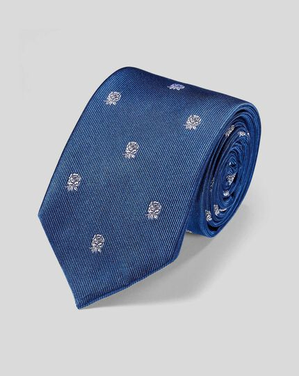 England Rugby Club Stripe Tie With Rose Motif - Royal Blue