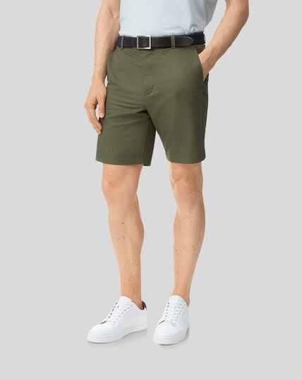 Shorts aus Baumwolle und Leinen – Olivgrün