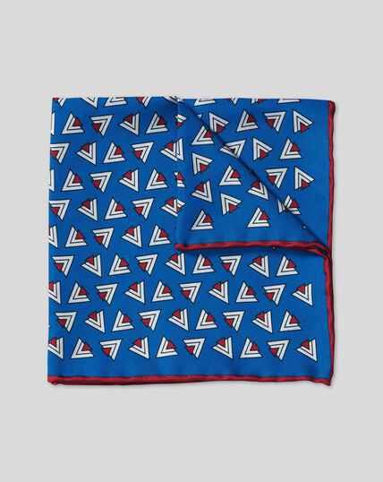 Retro Triangle Print Pocket Square - Royal Blue & Red