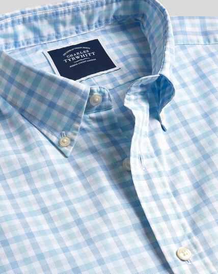 Button-Down Collar Short Sleeve Soft Washed Stretch Poplin Check Shirt - Light Green & Blue