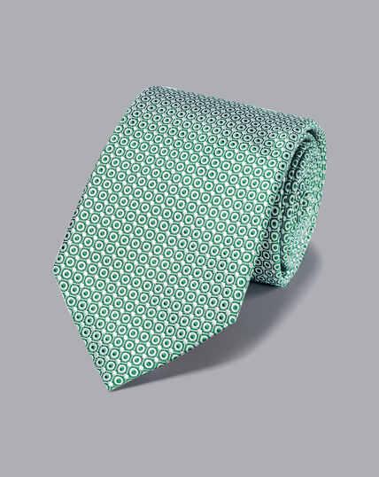 Stain Resistant Silk Tie - Green & White