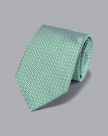 Schmutzabweisende Krawatte aus Seide - Grün & Weiß