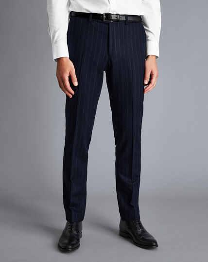British Luxury Stripe Suit Pants - Dark Navy