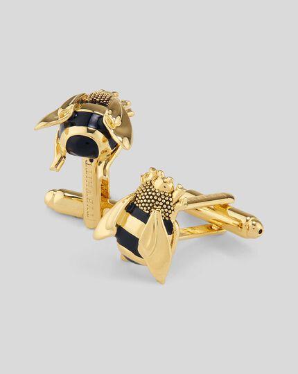 Enamel Bee Cufflinks - Gold