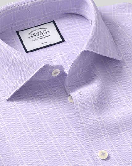 Business Casual Collar Non-Iron Natural Stretch Check Shirt - Lilac