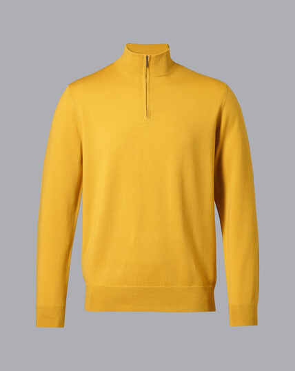 Merino Zip Neck Jumper - Dark Yellow