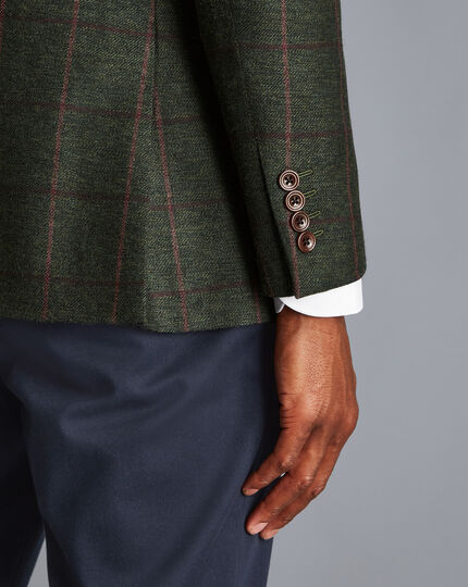 Textured Wool Windowpane Check Jacket - Forest Green