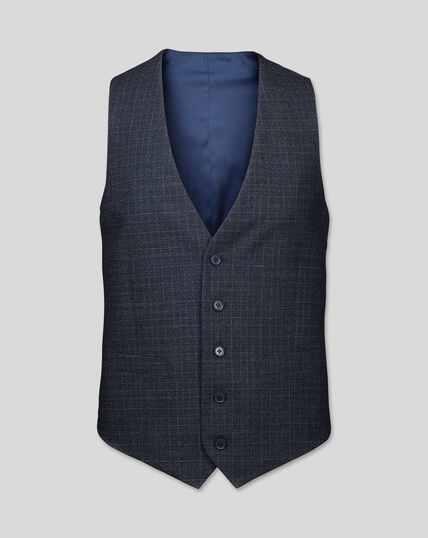 Grid Check Suit Waistcoat - Blue
