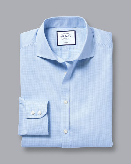 Cutaway Collar Non-Iron Puppytooth Shirt - Sky Blue