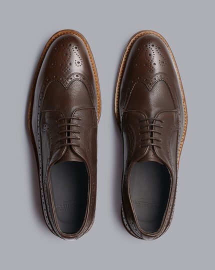 Flexible Sole Suede Wingtip Derby Shoes - Chocolate Brown