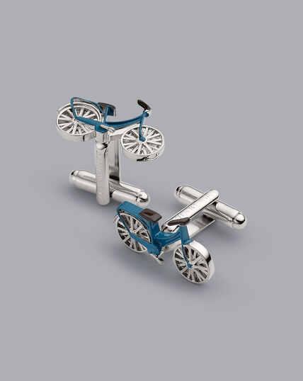 Manschettenknöpfe mit Fahrrad-Design - Silber & Blau