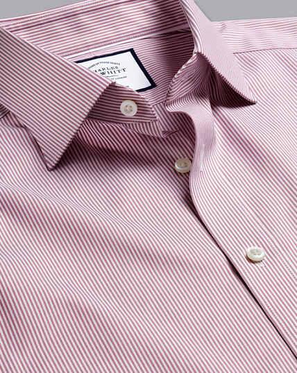 Semi-Cutaway Collar Egyptian Cotton Twill Bengal Stripe Shirt - Red