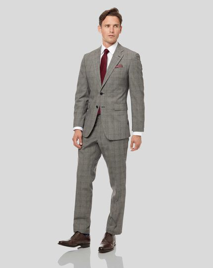 Prince of Wales Check Suit - Grey & Burgundy