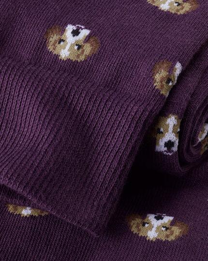 Beagle Motif Socks - Purple