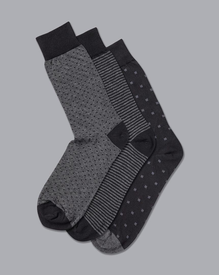3er-Pack Socken mit hohem Baumwollanteil - Multimuster