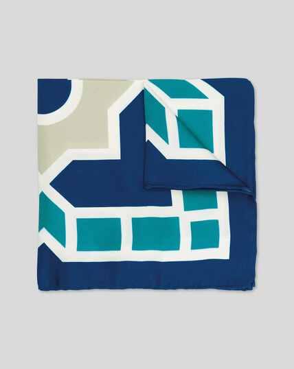 Large Tile Print Pocket Square - Blue & Aqua