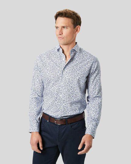 Popeline-Hemd mit Stretch und Blumenmotiv - Blau