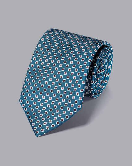 Silk Geometric Print Tie - Blue & Red