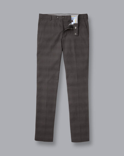Non-Iron Prince of Wales Check Stretch Pants - Charcoal