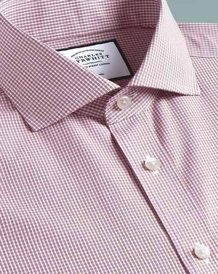 Non-Iron Cutaway Tyrwhitt Cool Poplin Check Shirt - Berry