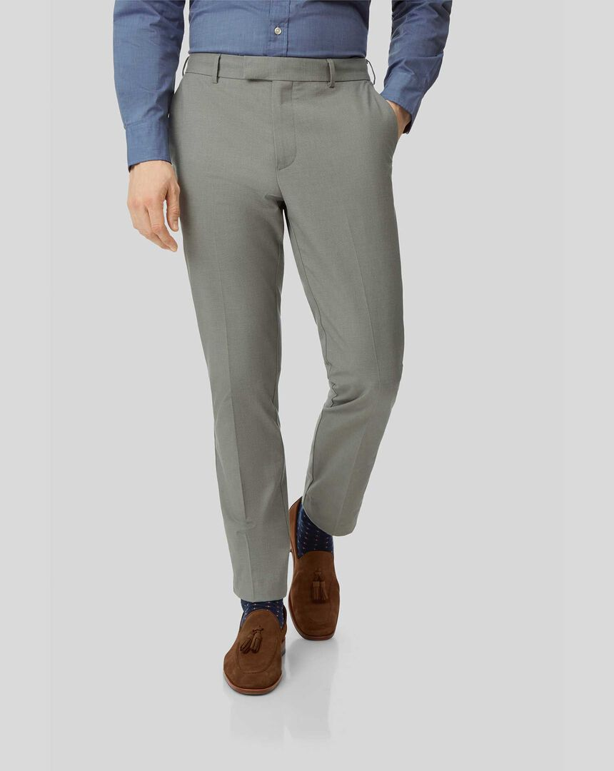 Non-Iron Stretch Trousers - Olive