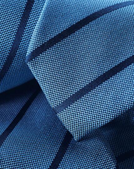Silk Slim Stripe Tie - Blue & Navy