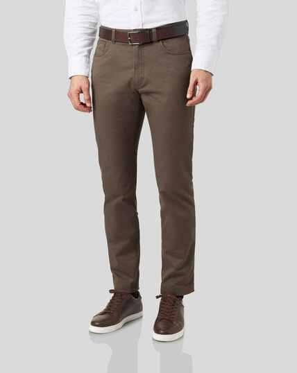 Cotton Stretch 5-Pocket Trousers - Mocha