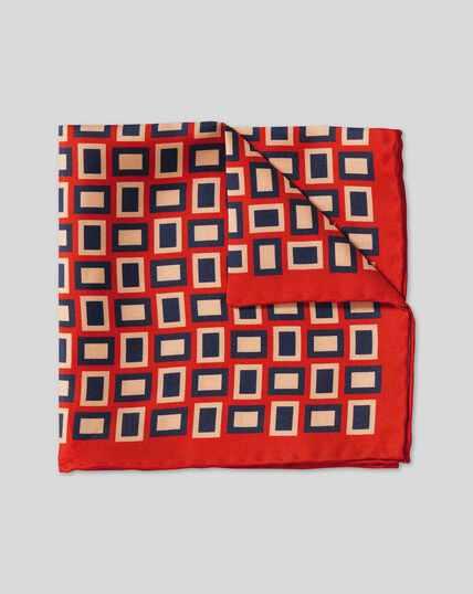Retro Rectangle Print Pocket Square - Orange & Navy