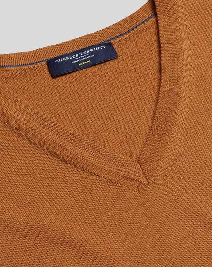 Merino V-Neck Sweater - Orange