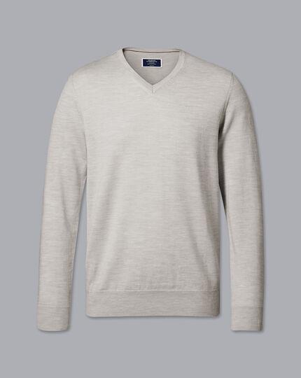 Merino V-Neck Sweater - Silver
