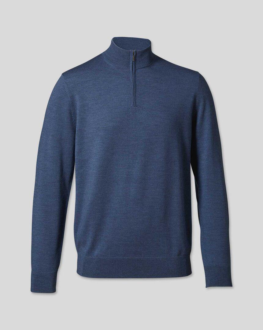 Merino Zip Neck Sweater - Indigo Melange