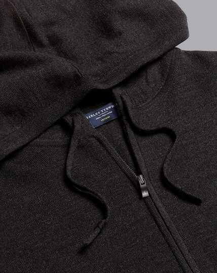 Merino Zip Through Hoodie - Charcoal Grey