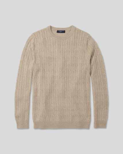 Merino Linen Cable Knit Crew Neck Sweater - Stone