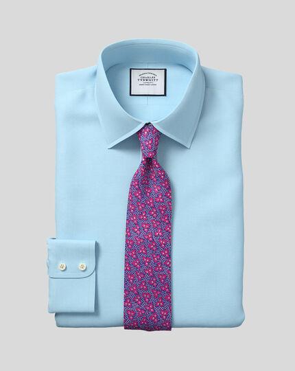 Classic Collar Egyptian Cotton Herringbone Shirt - Teal