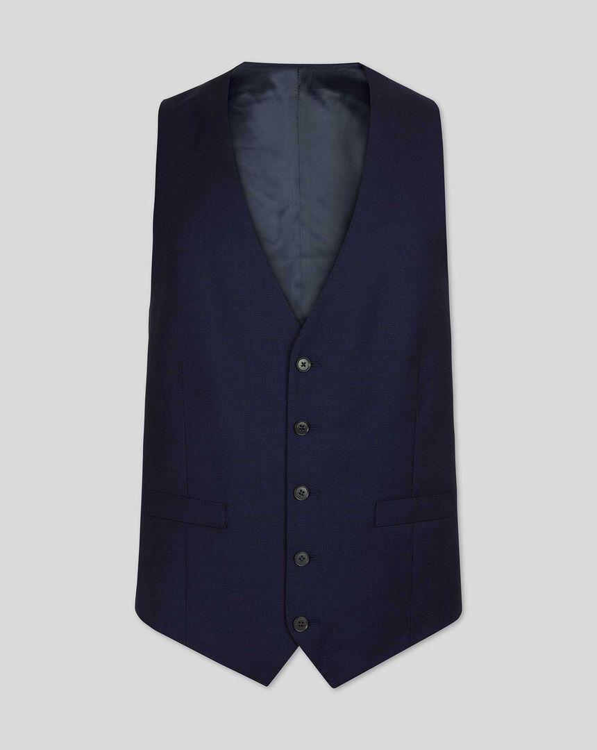Birdseye Travel Suit Waistcoat - Ink Blue