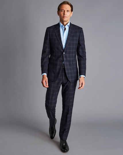 Windowpane Check Suit - Navy