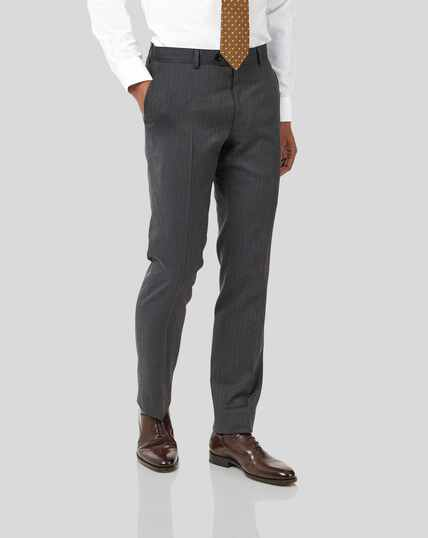 Stripe Birdseye Travel Suit Trousers - Grey