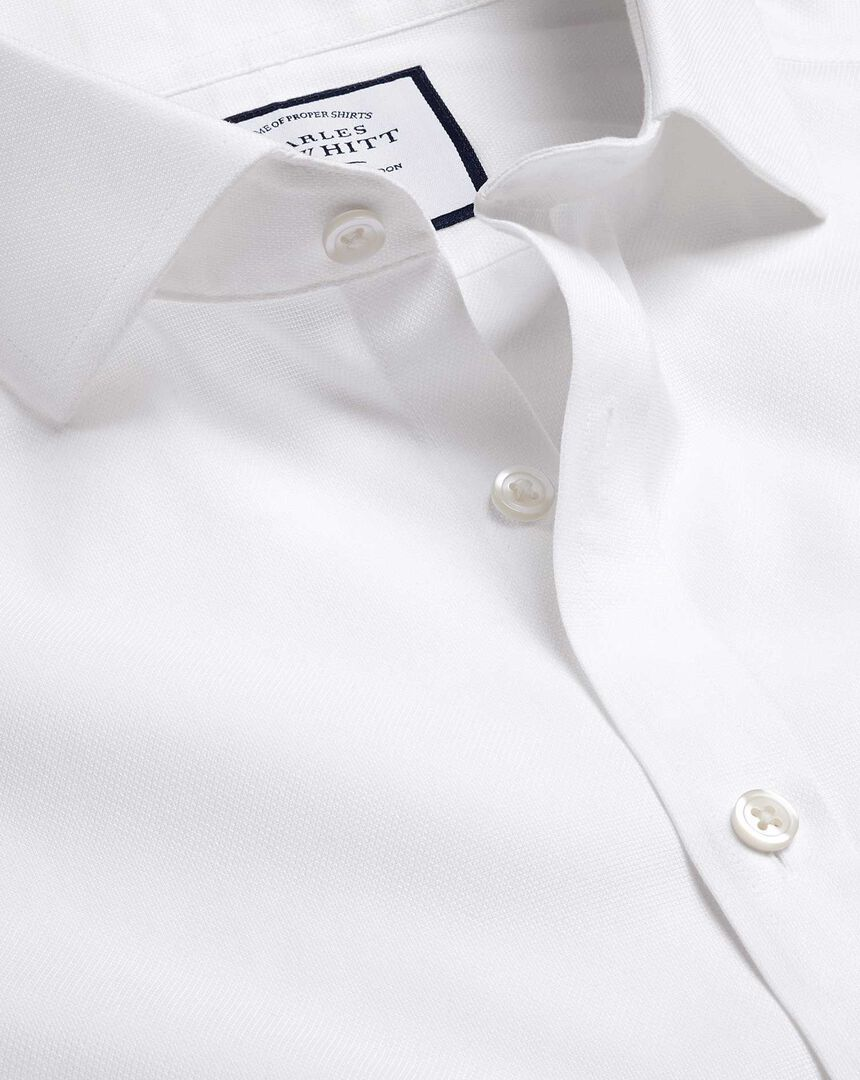 Spread Collar Non-Iron Ludgate Weave Shirt  - White