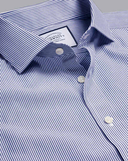 Cutaway Collar Non-Iron Bengal Stripe Shirt - Royal Blue