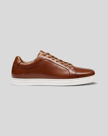 Leather Trainers - Chestnut Brown