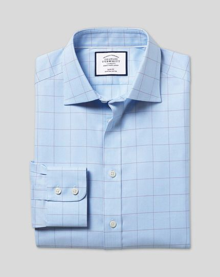 Semi-Spread Collar Egyptian Cotton Twill Prince Of Wales Check Shirt - Blue