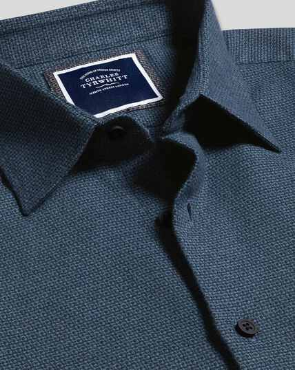 Classic Collar Dobby Flannel Textured Shirt - Teal & Navy
