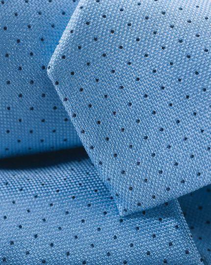 Slim Silk Pindot Tie - Mid Blue