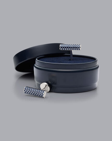 Lattice Bar Enamel Cufflinks - Navy