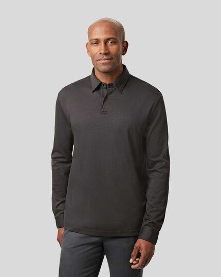 Smart Long Sleeve Jersey Polo - Charcoal