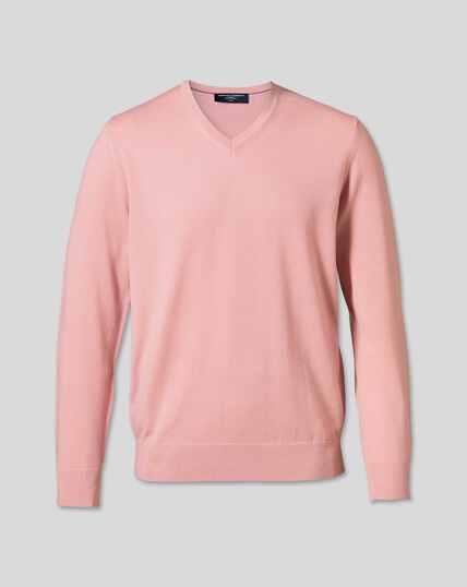 Merino V-Neck Jumper - Light Pink