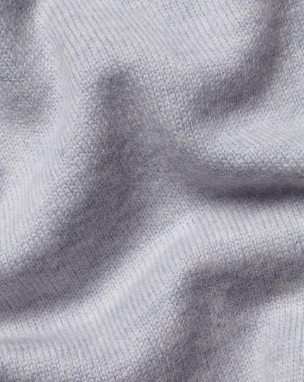 Merino Cashmere Zip Through Hoodie - Silver